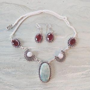 Jewelry - Amazonite moonstone garnet stamped 925 set